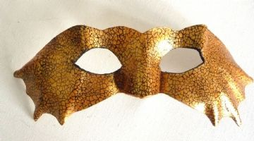 Mens Genuine Handmade Leather Crackle Bat Mask (Will fit over glasses)